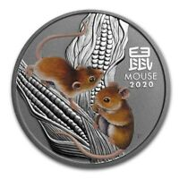 2020 ~ 2 ~ OZ .9999 SILVER ~ LUNAR YEAR of the  MOUSE ~ PERTH COLORIZED ~ $66.88