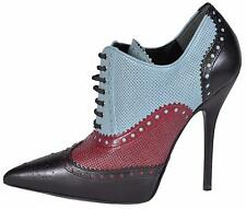 NEW Gucci 388426 Black Burgundy Blue Brogue Stiletto Ankle Boots Shoes 36.5