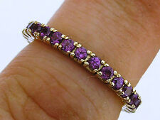 R122 Genuine 9K Yellow Gold NATURAL Purple Amethyst Full Eternity Ring size 6.25