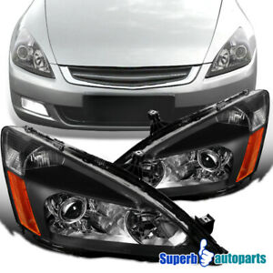 For 2003-2007 Honda Accord Projector Black Headlights Head Lamps Retro Style 2PC