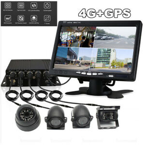 """7"""" LCD Monitor+4x CCD Cameras+4CH DVR GPS Realtime Video Recorder For Truck Bus"""