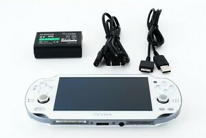 SONY PS Vita PCH-1000 / 1100 White OLED Wi-Fi w/ Charger From Japan [Excellent+]