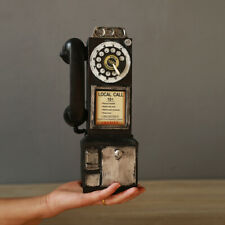Antique Call Rotary Dial Model Vintage Phone Booth Figurine Retro Home Decor