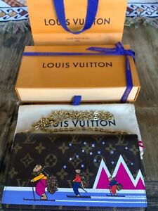 Authentic LOUIS VUITTON weekend Pochette Monogram Holiday 2018 Skiing Bears