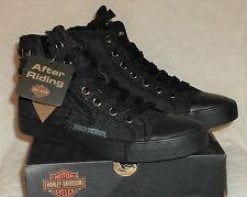 Harley Davidson  JADE  Womens Lace Up  Hi Top Sneakers Black Denim Size 7