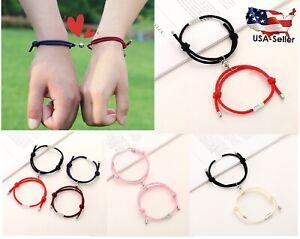 Magnetic Couple Bracelet Love Friendship Distance Braided Rope Bracelet Amor~2Pc