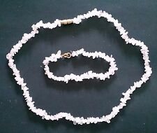 Rose Quartz Chip Bead Bracelet and Necklace Set by Jules Crowther