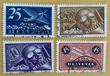 Switzerland 4 Air Mail Stamps Used