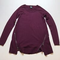 Ann Taylor Sz XS Wool Blend Zip Detail Purple Sweater A1576