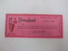 Vintage Disneyland Complimentary Admit One Admission Ticket 1957 RARE!