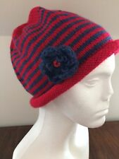 Hand Knitted Hat with Detachable Flower: Red/Blue Stripe by KnittedNature