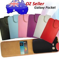PREMIUM Leather flip cover case with 3 card pouches Samsung Galaxy Pocket s5300