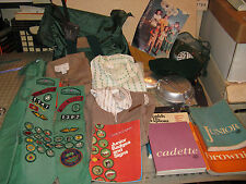 Huge 1970s Assortment of GIRL SCOUT (Brownie) Items - Dresses, Camping, Sashes