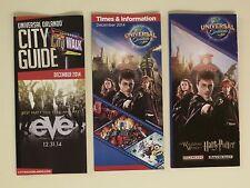 Lot of 3 Universal Orlando Brochures / Maps 2014 =