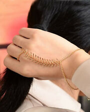 Boho Gear Fish Bone Style Wrist Link Chain Cuff Bracelet Bangle