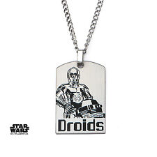 Star Wars SWR2C3WDT01 C-3po Droids Dog Tag Stainless Steel Pendant With Chain