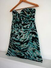Ladies Lovely Lipsy Blue Mix Strapless Animal Print Party Dress Size 12, Vgc