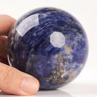 538g 73mm Large Natural Blue Sodalite Quartz Crystal Sphere Healing Ball Chakra