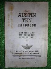 AUSTIN TEN 1125cc & 1237cc OWNERS INSTRUCTION MANUAL USER HANDBOOK 1946