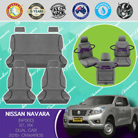 FOR NISSAN NAVARA NP300 2015- ON CANVAS WATERPROOF TAILOR MADE GREY SEAT COVERS