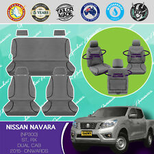 NISSAN NAVARA NP300 2015- CURRENT CANVAS WATERPROOF TAILOR MADE GREY SEAT COVERS