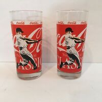 Mickey Mantle New York Yankees Coca Cola COKE Advertising Glass Lot Of 2