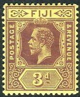 FIJI-1914 3d Purple/Yellow SIDEWAYS WATERMARK.  A lightly mounted mint Sg 130a