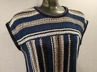 Tory Burch Navy Blue Cotton Chunky Knit Short Sleeve Sweater Top Medium M $295