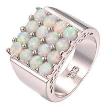 NEU Edler 925  Silber-Ring mit weißen Feuer-Opal Perlen, Gr. 7/17
