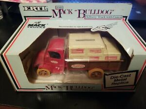 1926 Mack Bulldog Delivery Truck With Crates Die Cast Metal Replica By Ertl