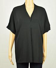 Alfani Womens Black Short Sleeve V-Neck Blouse Top 12 14