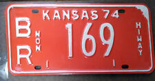 Kansas expired 1974 Non Hi-way License Plate ~ br 169 ~ embossed