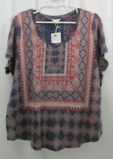 Lucky BRAND Womens Plus Size 2x Knit Tee Top Blue Rust Brown