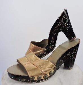 ANTIQUE 1930'S HIGH HEEL HANDPAINTED SHOES W GOLD LEATHER