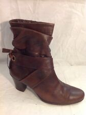 Caprice Brown Ankle Leather Boots Size 6