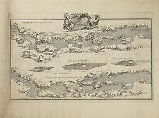 Mappa ANTICA 1750 Rehn Trollhattan GOTA RIVER Svezia REPLICA poster stampa pam1639