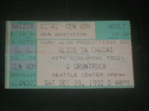 ALICE IN CHAINS 1992 TICKET STUB**SEATTLE CENTER ARENA**SCREAMING TREES**RARE**