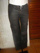 Pantalon noir enduit stretch slim  I-CODE by IKKS taille basse w24 34fr 18ts41