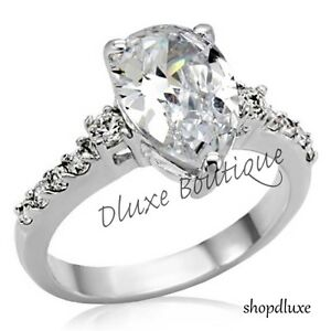 Stunning Pear Shape AAA CZ Stainless Steel Women's Engagement Ring Band Sz 5-10