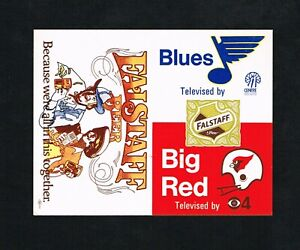1972 St Louis Blues Hockey Cardinals FB Falstaff Beer Unfolded Pocket Schedule