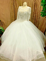 WHITE TULLE AND LACE BALLGOWN WEDDING DRESS RENAISSANCE FAIRE GOWN SIZE S