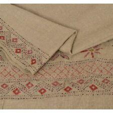 Sanskriti  Cream Woolen Shawl Hand Embroidered Long Stole Soft Scarf
