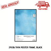 24x36 Thin Poster Picture Frame Black Display Protect Cover Showcase Certificate