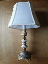 Vintage MABEL Table Lamp Antique Brass & Glass complete with white Shade