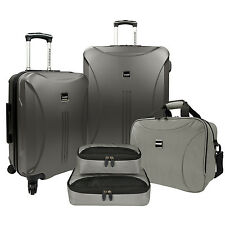 US Traveler Skyscraper Gray 5pc Spinners Luggage Suitcase Tote Packing Cubes Set