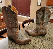 Old Gringo Women Diego Brown & Blue Leather Western Snip Toe Boots Size 9  HOT!