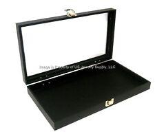 Key Locking Glass Top Black Earring or Pendants w/chains Storage Display Case