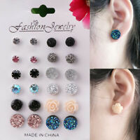 12 Pairs Fashion Rhinestone Crystal Pearl Earrings Set Female Ear Stud Jewelry