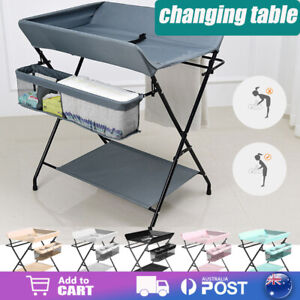 Baby Changing Table Foldable Moveable Diaper Nursing Desk Storage Basket