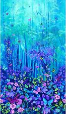 """FOREST MAGIC PANEL BY TIMELESS TREASURES BLUE FLOWERS BUTTERFLIES FABRIC 24""""X44"""""""